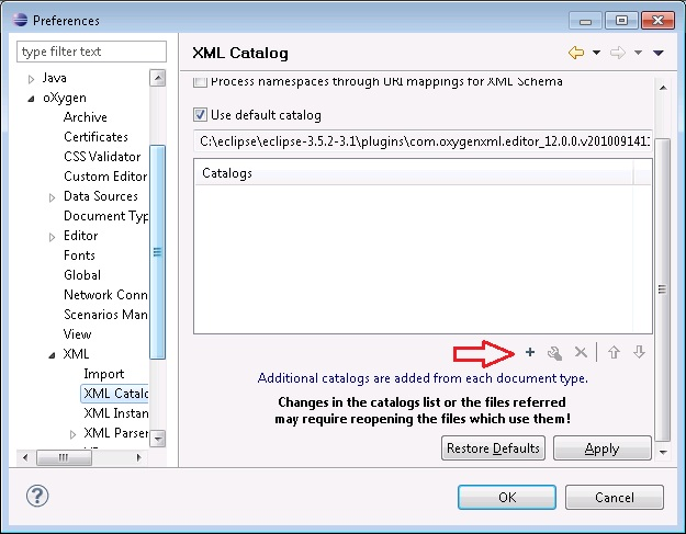Add the root-catalog xml catalog to the oXygen XML Editor