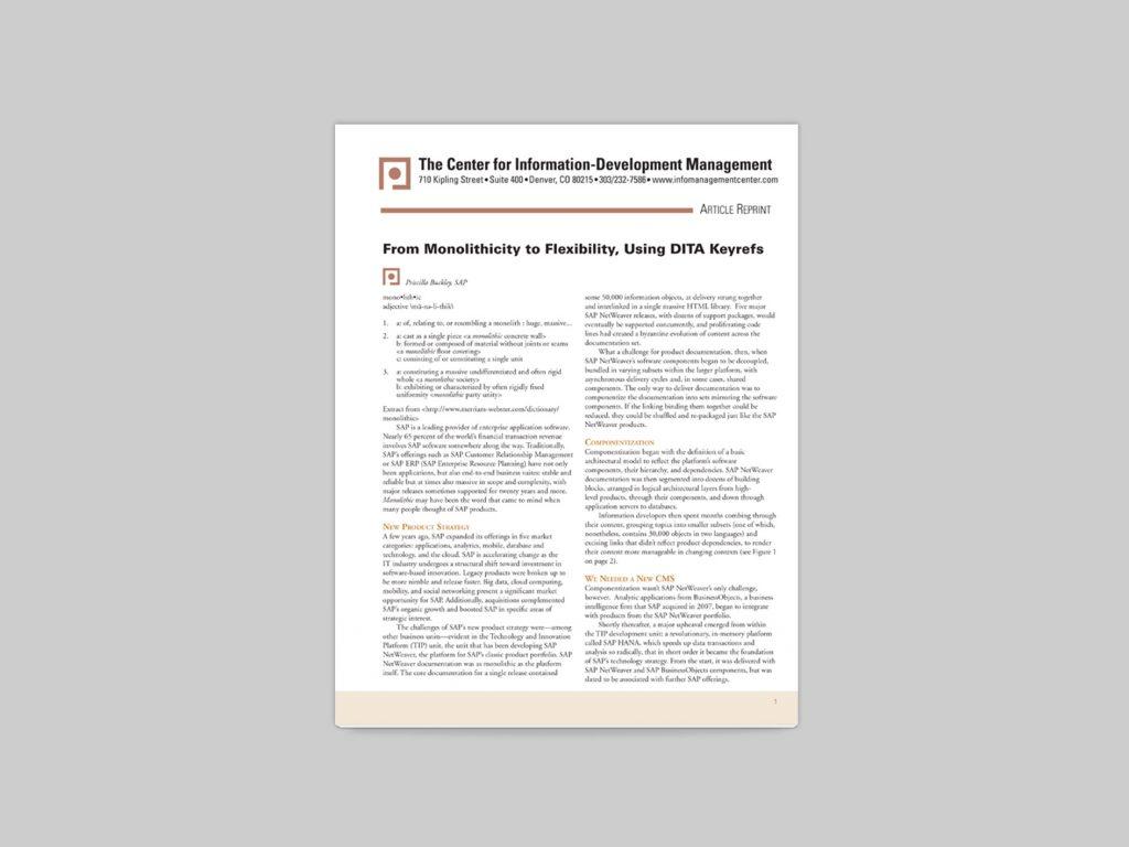 Screenshot of PDF article on mobility and flexibility, using DITA keys.