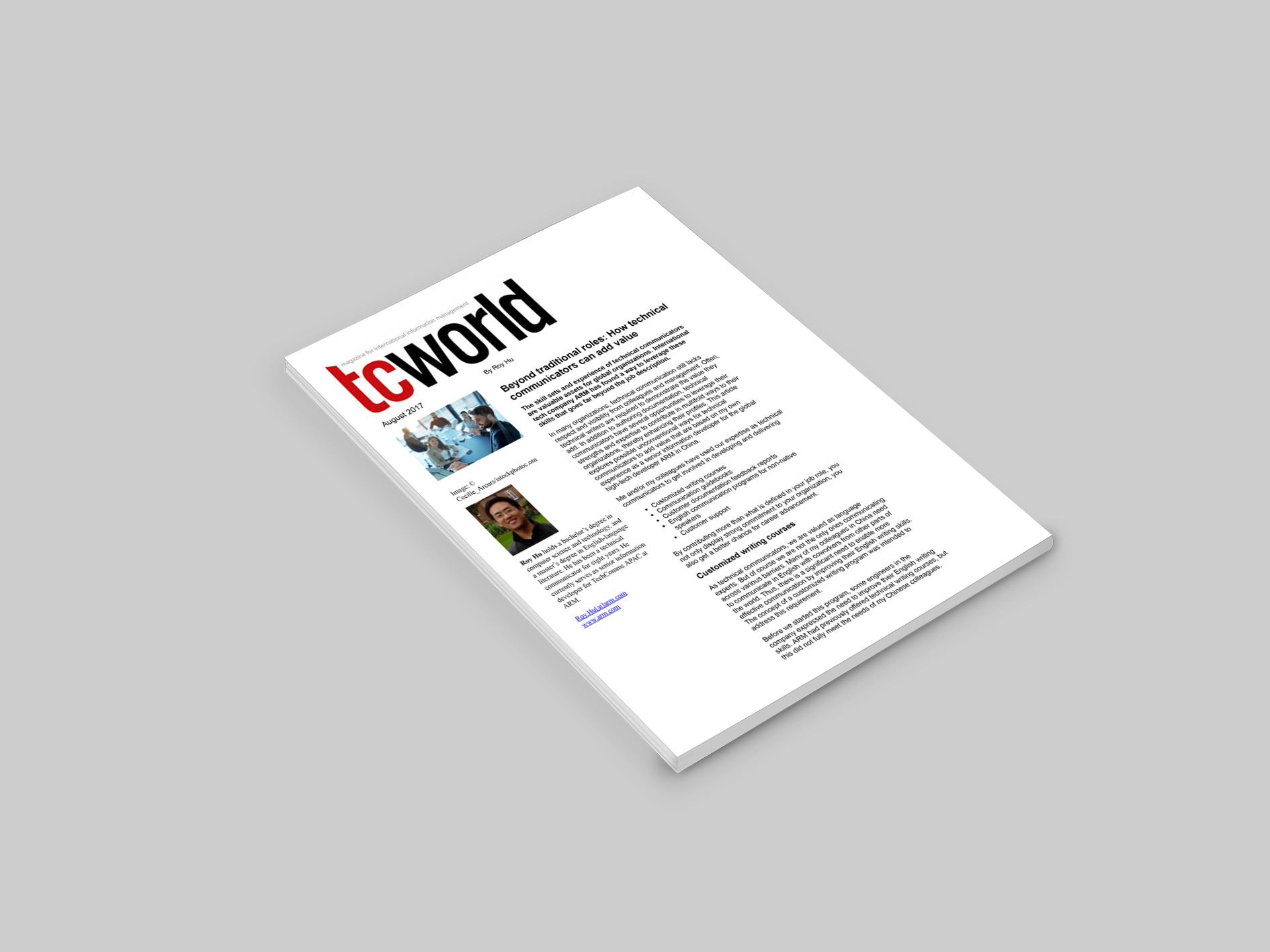 title page of TC world article