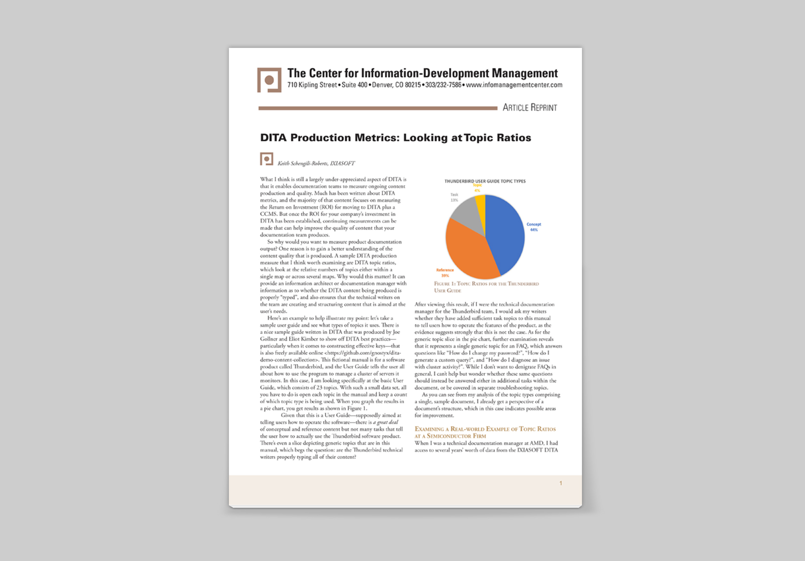 Title page for DITA production metrics article