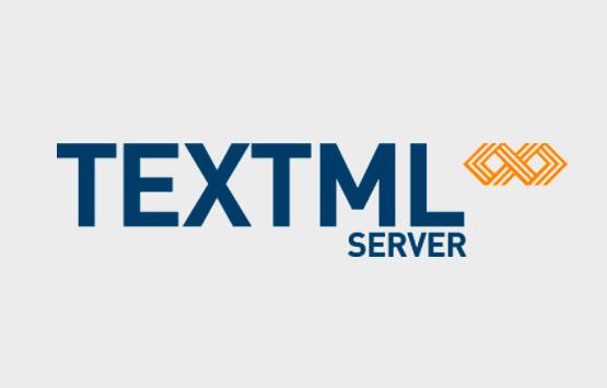 TEXTML Server logo on grey background