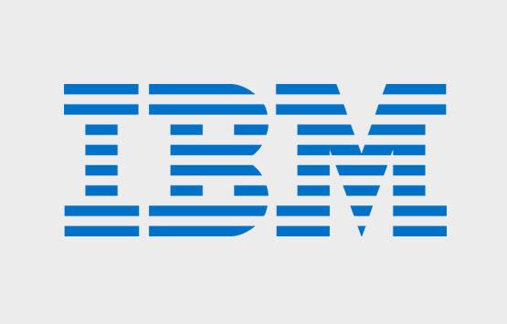 IBM logo on grey background