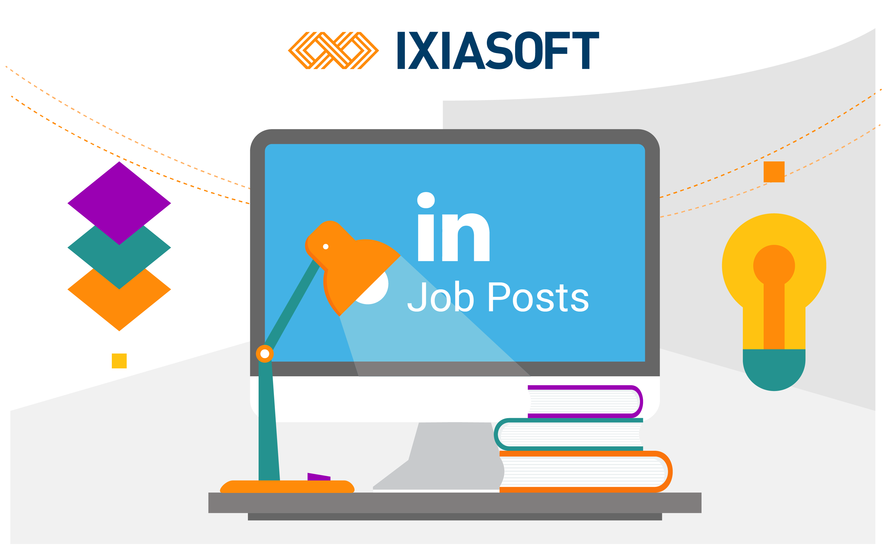 Graphic of monitor, lamp, books, and LinkedIn job posts for IXIASOFT.