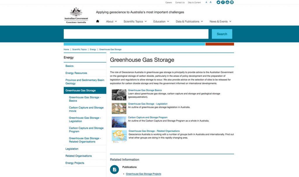 Capture d'écran de l'article sur le stockage des gaz à effet de serre