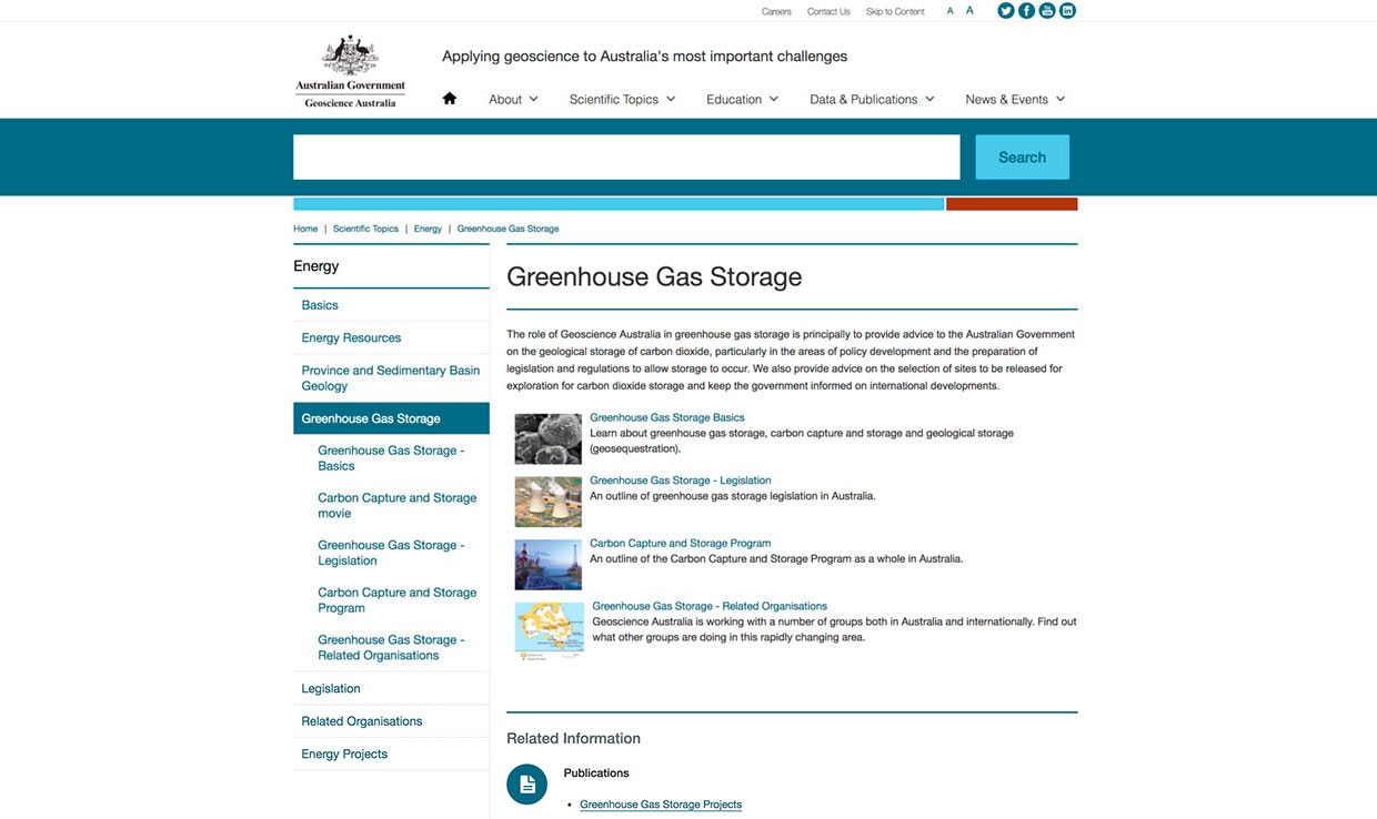 Screenshot of greenhouse gas storage article