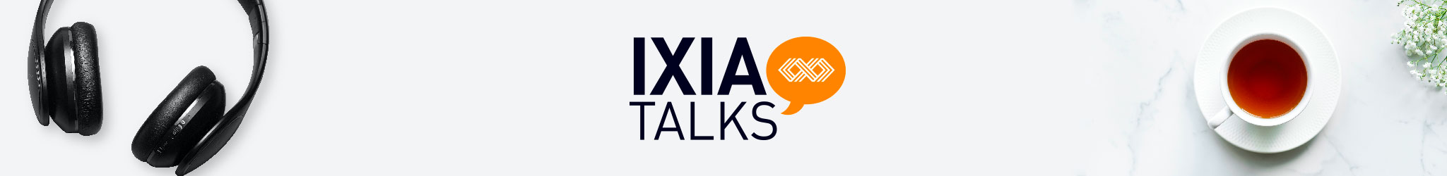 IXIAtalks logo with headphones and tea mug.