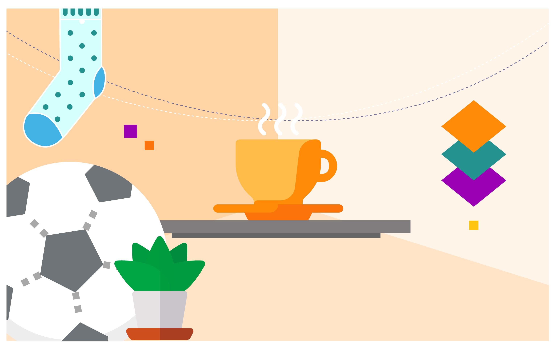 Illustration of coffee mug, soccer ball, and sock.