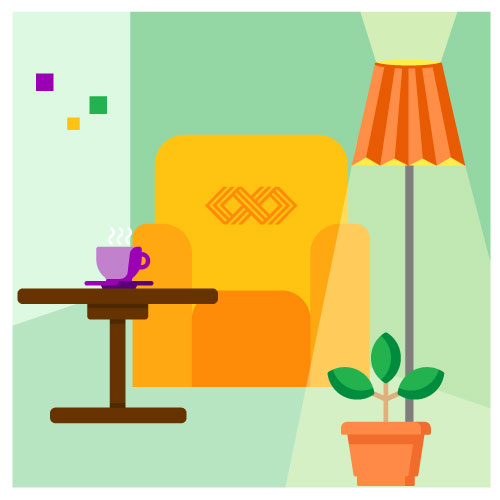 Saas illustration of chair, coffee, and lamp.