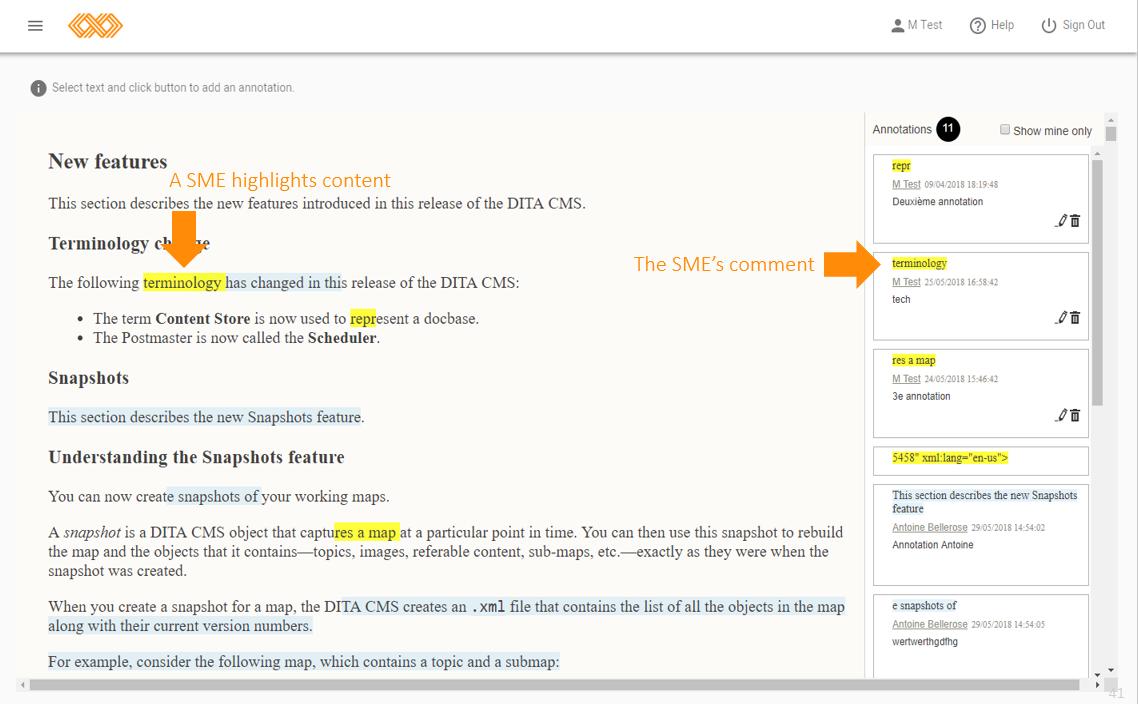 Screenshot of IXIASOFT CCMS.