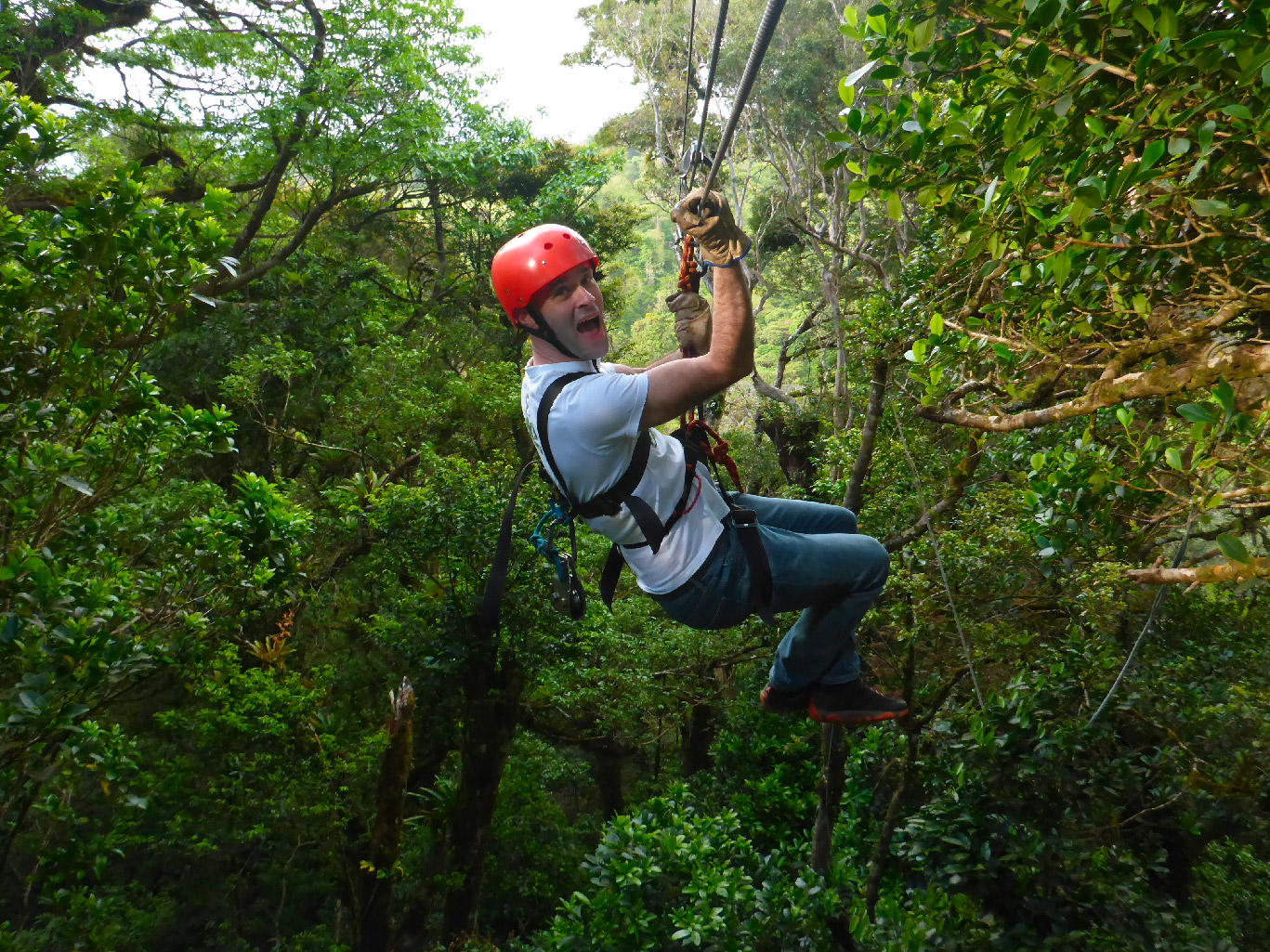 a man on a zipline