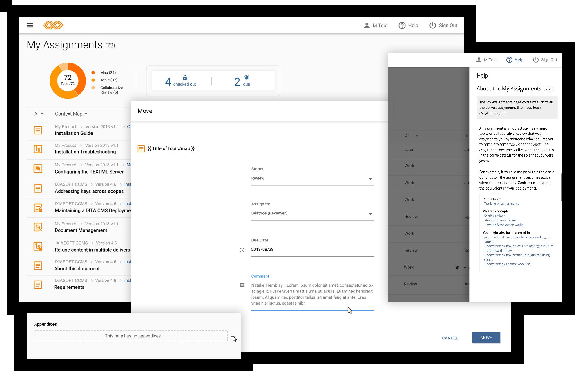 Multiple screenshots of IXIASOFT CCMS 5.1.