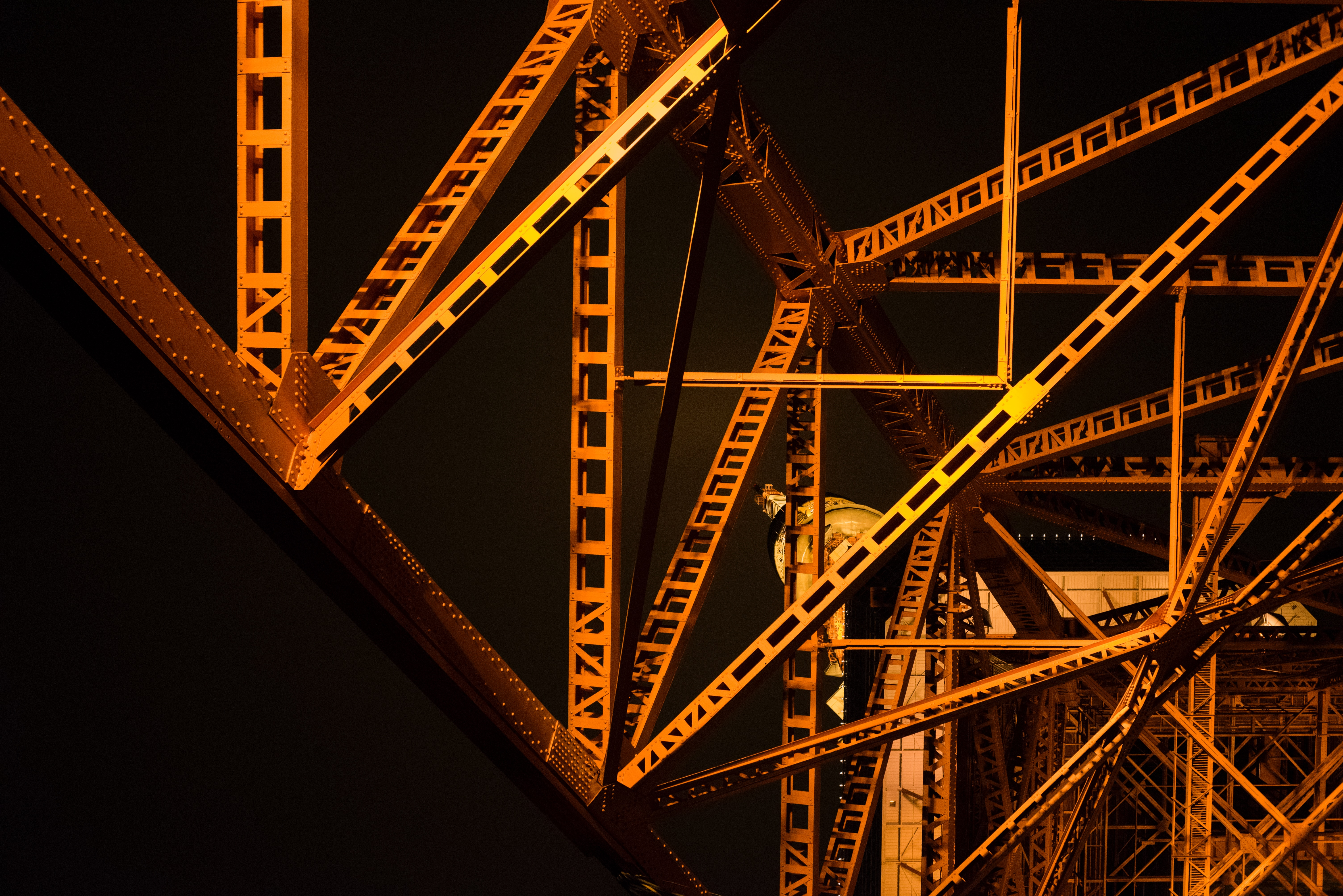 Orange and steel structure