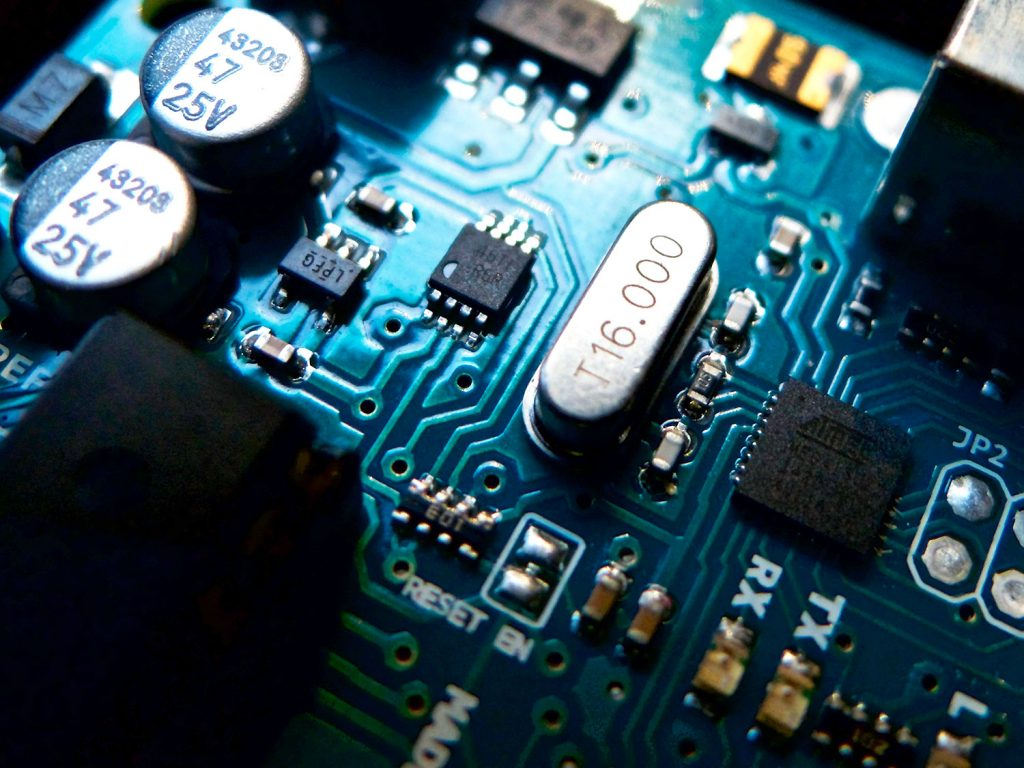Close up on a circuit board